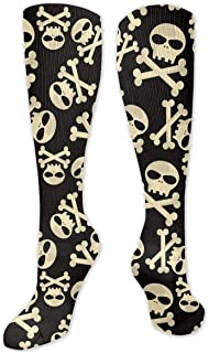 MayBlosom, Calcetines deportivos unisex hasta la rodilla, calaveras y huesos Jolly calcetines de compresión para hombres y mujeres