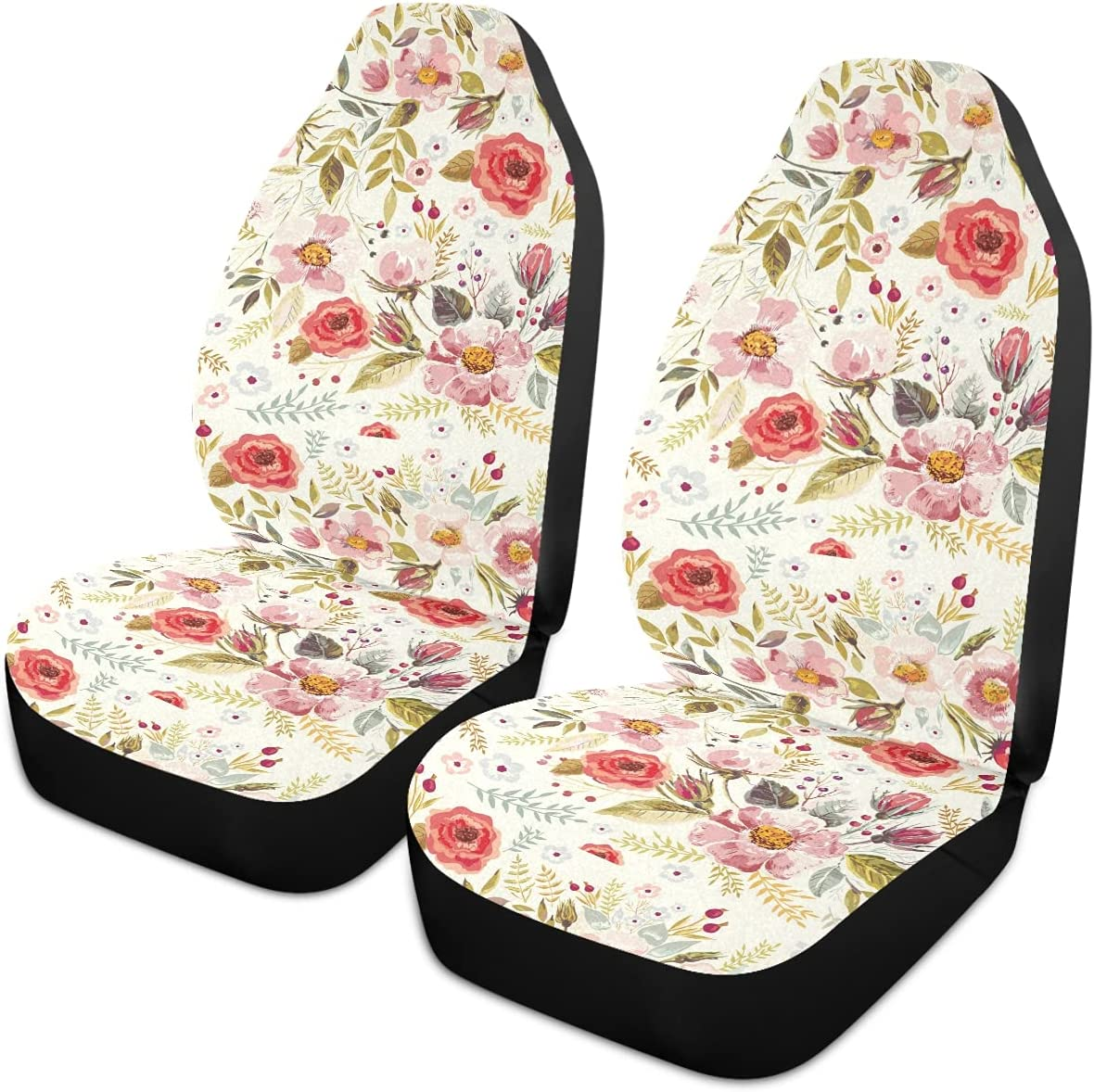 Oarencol Vintage NEW before selling ☆ Flowers Florals Car Discount mail order Covers Seat Auto Universal