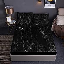 Chickwin Marmurowe prześcieradło z gumką na pojedyncze łóżko podwójne, drukowane prześcieradła z poszewkami na poduszki - ...