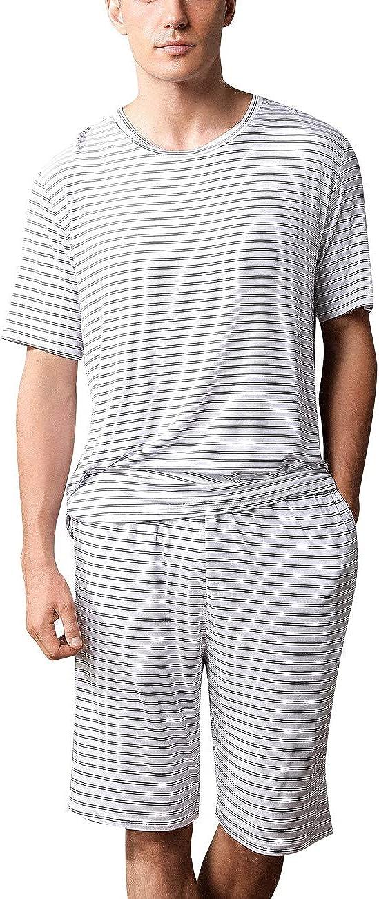 MYKODEE Men's Short Sleeve Shorts Pajamas Set Summer Striped Casual Home Wear