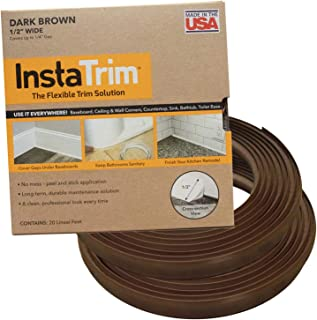 InstaTrim IT05INDBR InstaTrim-1/2 inch wide Flexible, Self-adhesive, Caulk and Trim Strips for Floors, Ceilings, Countertops and More and More, 1/2 X 10 ft Long, 2 pk, Dark Brown, 2 Pack