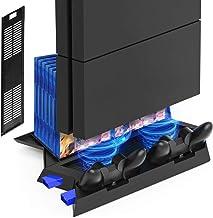 پایه Kootek عمودی برای PS4 Slim / Regular PlayStation 4 کنترل کننده فن خنک کننده شارژر با ذخیره سازی بازی و Charger Dualshock (نه برای PS4 Pro)