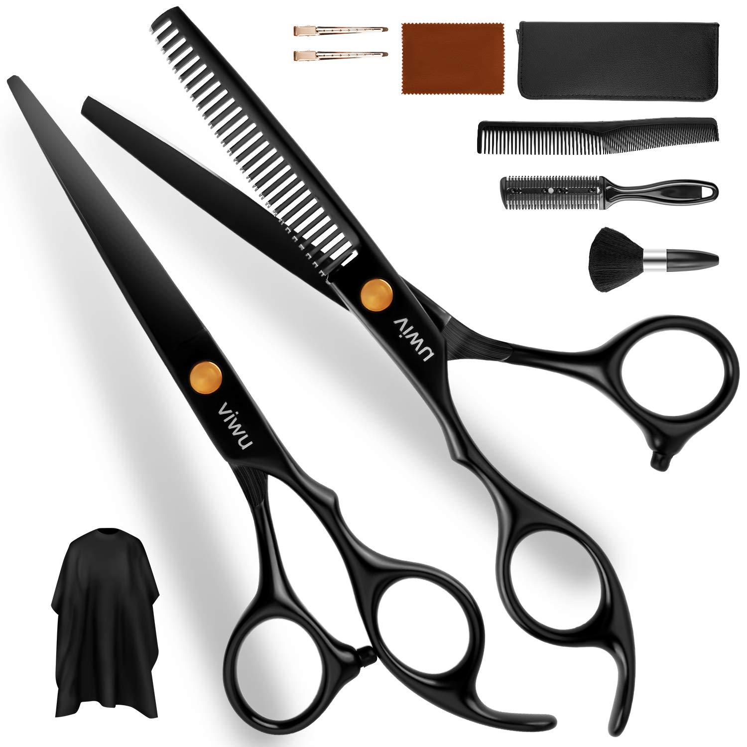 Viwu Barber Shears Home Hair Cutting Scissors Set, 10 Pcs Professional Haircut Scissors Kit with Thinning Shears 6CR 440C Stainless Steel Home Haircutting Scissors Kit for Barber Salon : Beauty & Personal Care