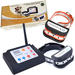 ANTEDEA Electric Wireless Fence for Dogs - No Wire bury 100% Wireless,Inbuilt Remote Dog Training Collar,Safe Effective Dog Fence Adjustable Remote Training E-Collar Rechargeable Waterproof Collar