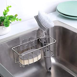 Adhesive Sponge Holder, SUS304 Stainless Steel Kitchen Sink Organizer, Sponge & Brush Holder 2-in-1 Sink Caddy Rust Proof,...