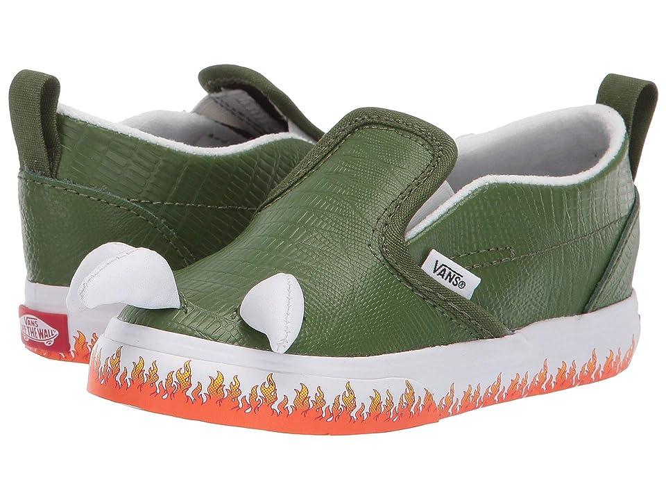 Vans Kids Slip-On V (Toddler) ((Boyzilla) Black/True White) Boys Shoes