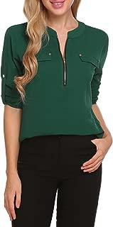 Women Long Sleeve Chiffon Blouse V Neck Office Work Blouse for Women Dress Shirts Tops