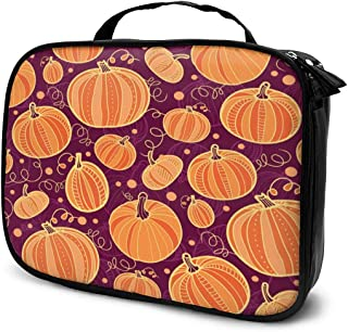 Cosmetic Bag Thanksgiving Pumpkins Seamless Pattern Makeup Bag Lightweight Portable Cosmetic Case Water Resisted Cosmetic Makeup Bag Durable Organizer Makeup Boxes With Insulated Pockets For Travel