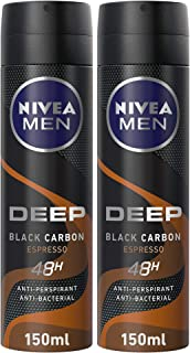 NIVEA MEN Deo DEEP Espresso Antiperspirant Spray, Black Carbon, 2 x 150 ml