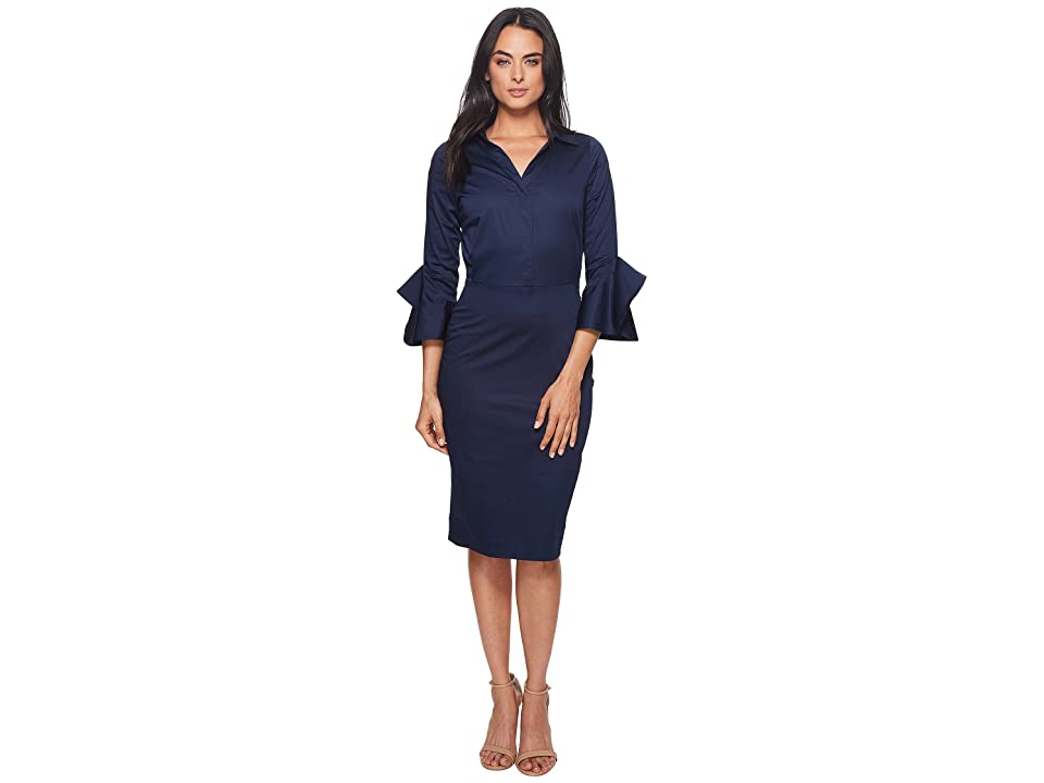 Badgley Mischka Cotton Poplin Dress w/ Collar (Navy) Women