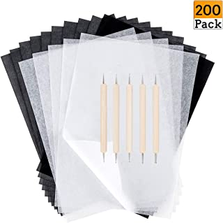 200 Sheets Transfer Carbon Paper and Tracing Paper with 5 Pieces Embossing Styluses Stylus Dotting Tools for Paper, Metal, Glass, Drawing, Carving, Wood Burning Craft