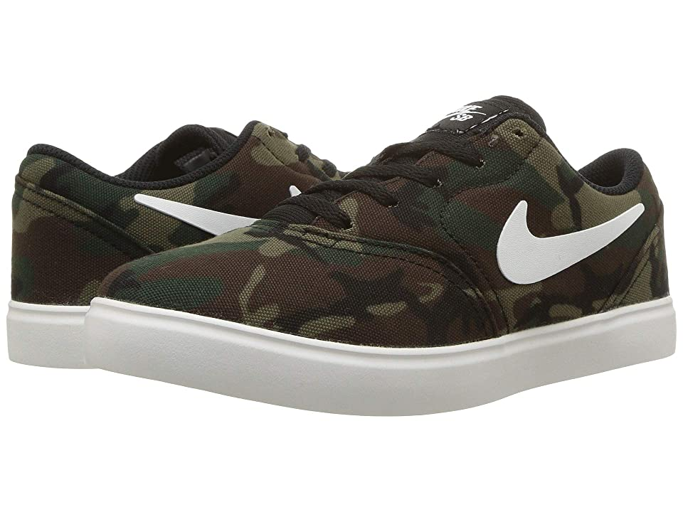 Nike SB Kids Check Premium (Little Kid) (Black/Summit White/Medium Olive) Boys Shoes