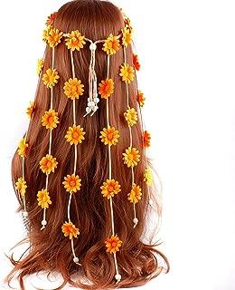 Adjustable Bohemian Sunflowers Fascinator Headdress Headband - Numblartd Women Lady Gypsy Hippie Handmade Floral Crown Hairband Headpiece Hair Accessories for Wedding Bride (Orange)