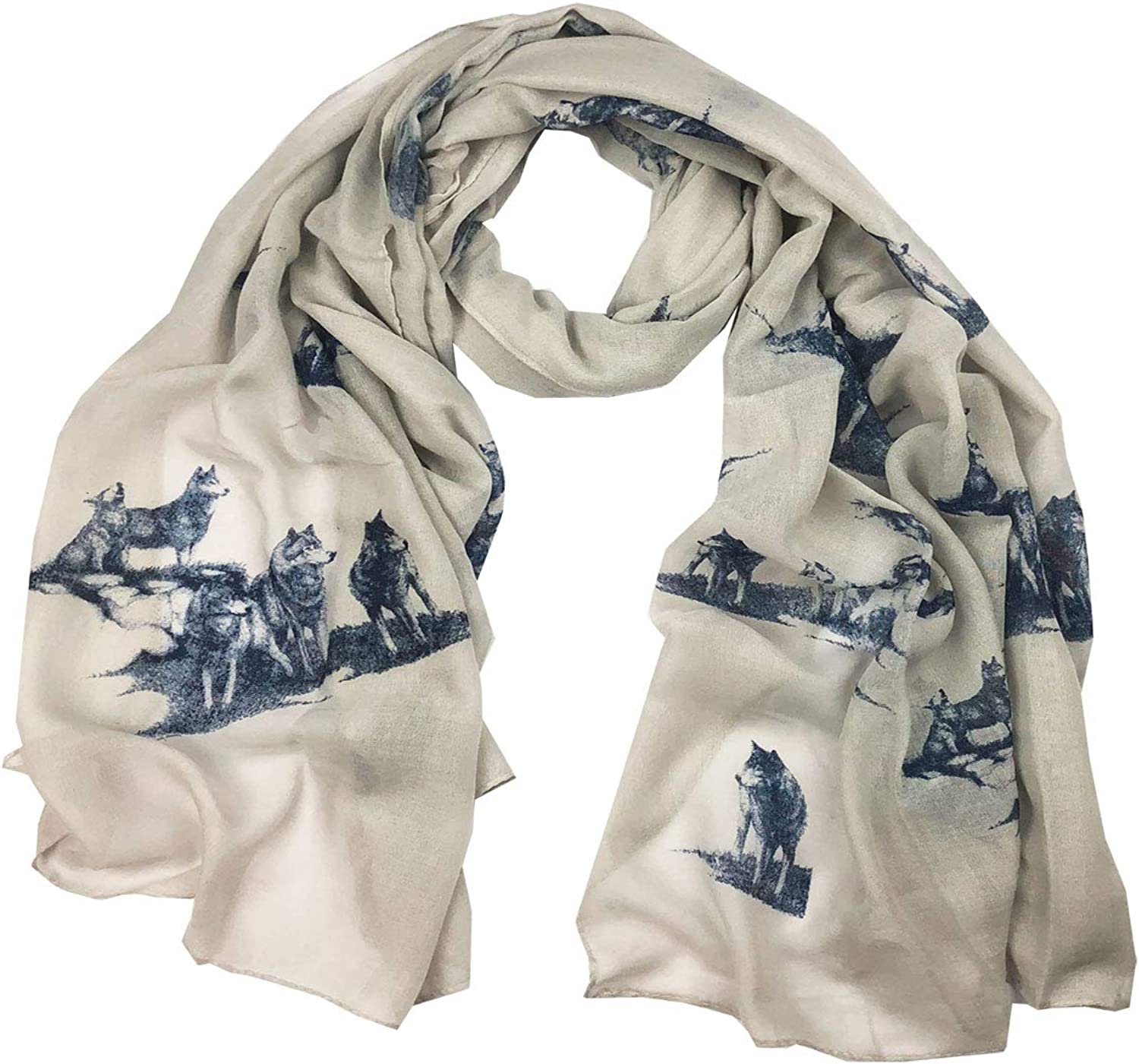 Wolf Viscose Oblong and Infinity Scarf CSJL66