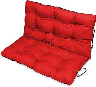 SuperKissen24 Cojín para Banco Exterior 120x50 cm y Respaldo 120x60 cm Asiento Cómodo e Impermeable para Bancos y Columpios de Jardín, Terraza - Rojo