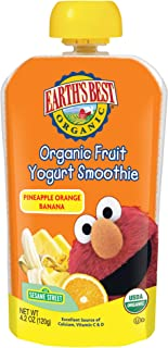 Earth's Best Organic Sesame Street Toddler Fruit Yogurt Smoothie, Pineapple, Orange and Banana, 4.2 oz. Pouch (Pack of 12)