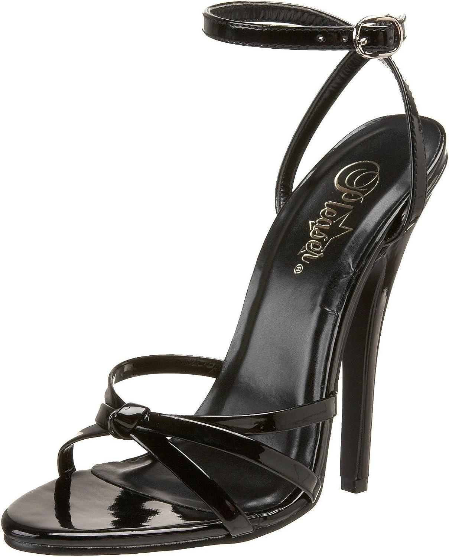 Devious Women's 6 Inch Strappy Ankle Wrap Sandal (Black;5)