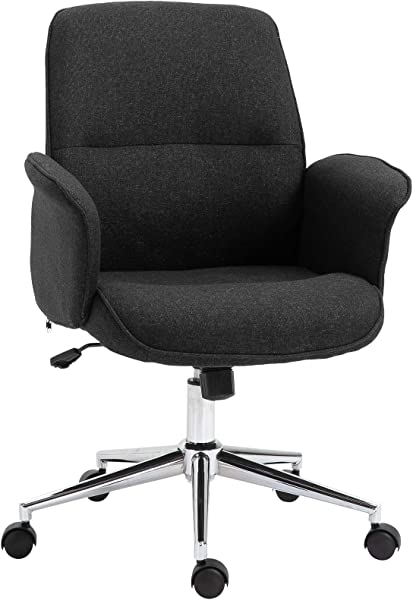 Vinsetto Adjustable Linen Fabric Swivel Home Office Chair With Arms Upholstered Mid Back Dark Grey