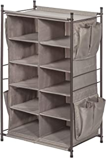 STORAGE MANIAC 5-Tier 10-Compartment Cubby Shoe Rack Organizer with 8 Side Pockets, Free Standing Storage Rack with Top Space