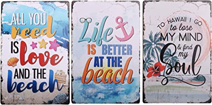 HANTAJANSS Metal Signs, Life is Better at The Beach Tin Sign for Beach Store, Bar, Home Decoration 3 Pack