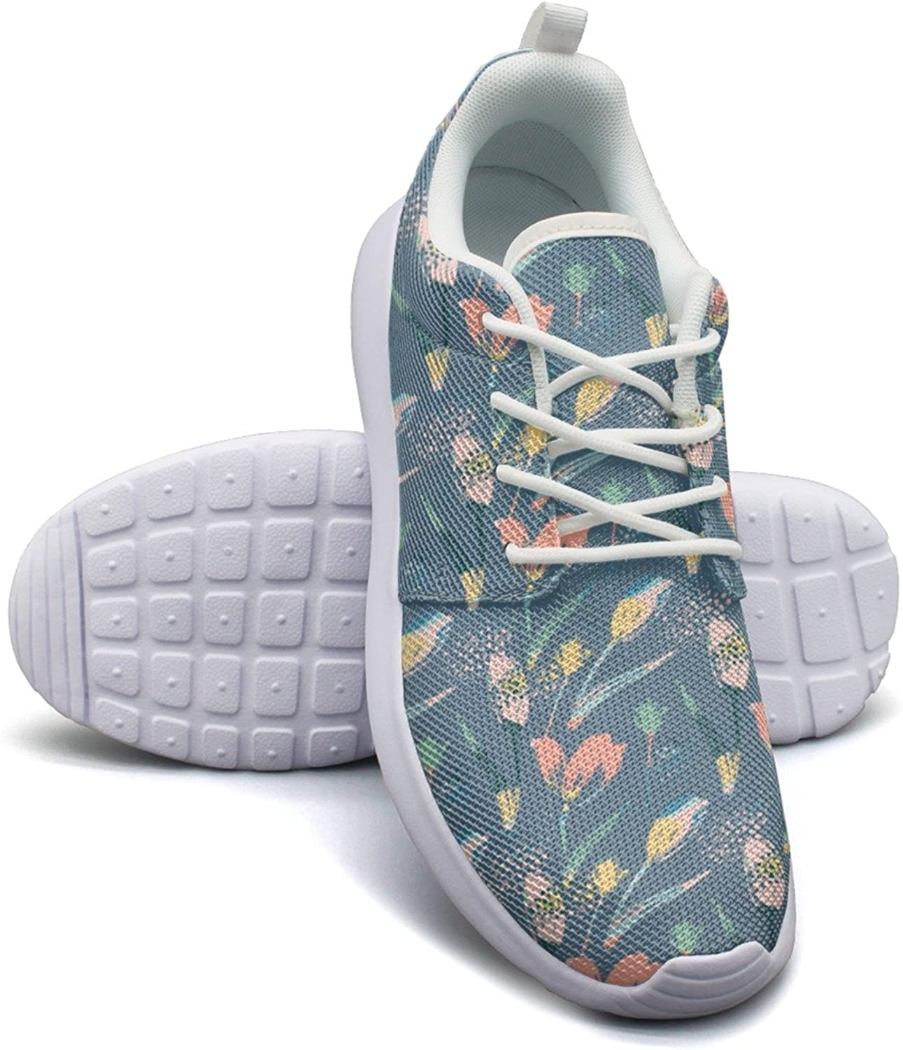 Eoyles gy Abstract Floral Tulips Womens Slip Resistant Lightweight Running Gym shoes