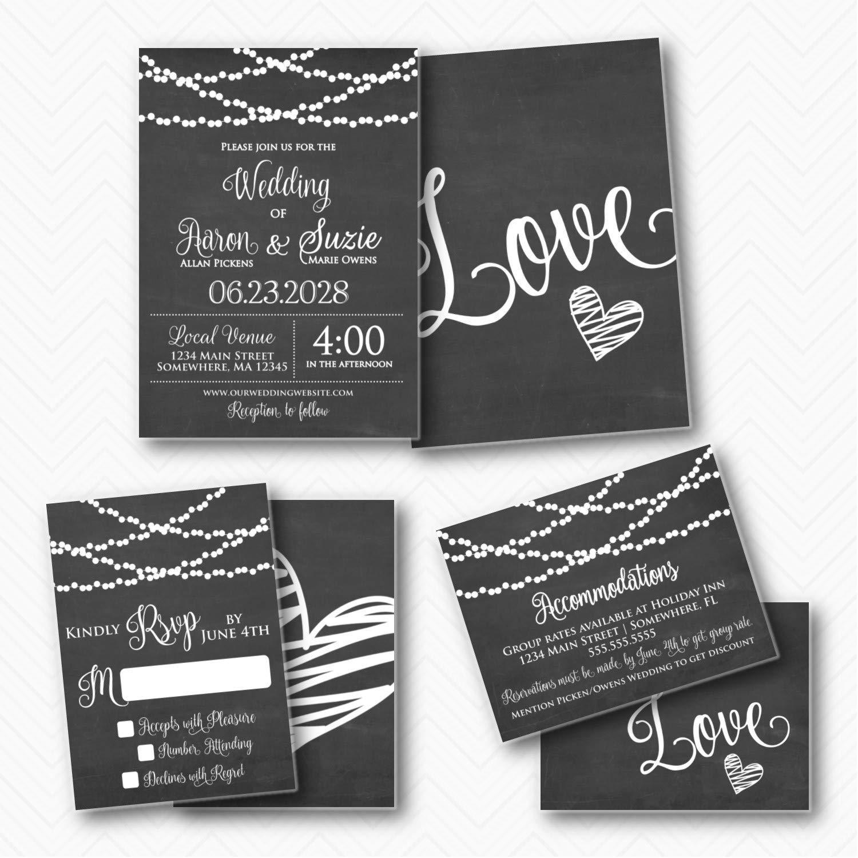 online shop Wedding Washington Mall Invitation Suite Chalkboard Heart Black Lights wit White