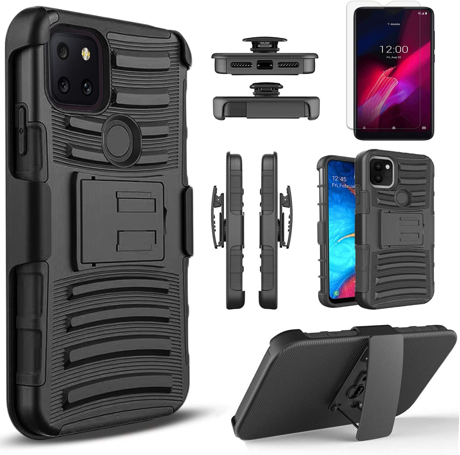 Circlemalls - T-Mobile Revvl 5G Phone Case, [Not Fit Revvl 4] With [Tempered Glass Screen Protector Included], Armor Heavy Duty Kickstand Cover With Belt Clip Holster - Black