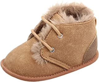 Annnowl Baby Boots Winter Training Warm Shoes 0-18 Months (12-18 Months, Brown)