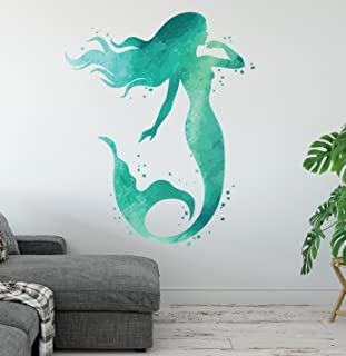 West Mountain Mermaid Wall Decal - Ocean Mermaid Wall Art Aqua Watercolors - Bathroom Wall Decal - Beach House Vinyl Wall Sticker LB18 (32''H x 24''H)
