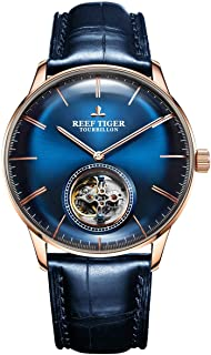REEF TIGER - Azul Tourbillon reloj correa de cuero hombres marca de lujo relojes mecánicos automáticos RGA1930