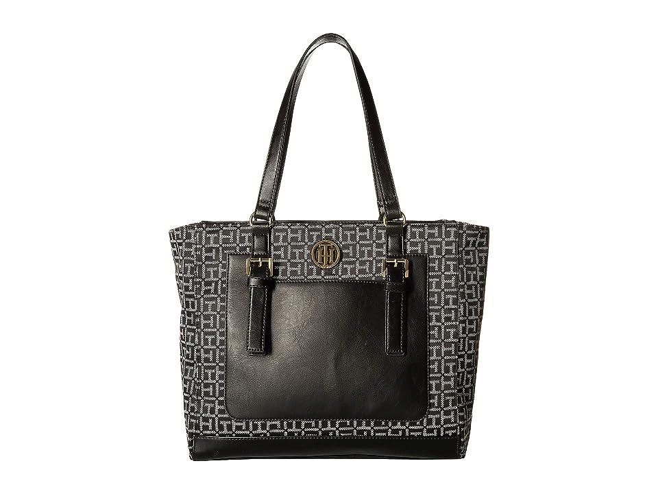Tommy Hilfiger Imogen Tote (Black/White) Handbags