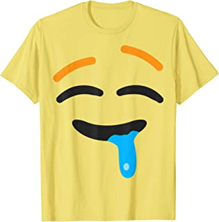 Drooling Face Emoji Easy Lazy Group Halloween Costume T-Shirt