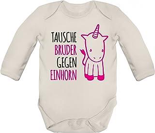 ShirtStreet süßer Unicorn Strampler Bio Baumwoll Baby Body langarm Mädchen Tausche Bruder gegen Einhorn Premium