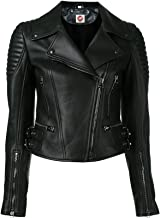 Takitop Athena Fancy Black Biker Motorcycle Moto Real Leather Jacket Women Missy