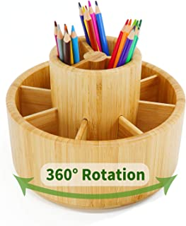 Bamboo Rotating Desk Organizer,Marker&Colored Pencil Holder Organizer, Office Supply Desktop Storage Caddy for Pen, Crayon...