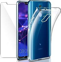 """Cover Huawei Mate 20 Lite Custodia + Pellicola Protettiva in Vetro Temperato, Leathlux Morbido Trasparente Silicone Custodie Protettivo TPU Gel Sottile Cover per Huawei Mate 20 Lite 6.3"""""""
