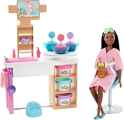 Barbie Bien-être coffret Journée au Spa avec poupée brune, salon de beauté, figurine chiot et plus de 10accessoires,...
