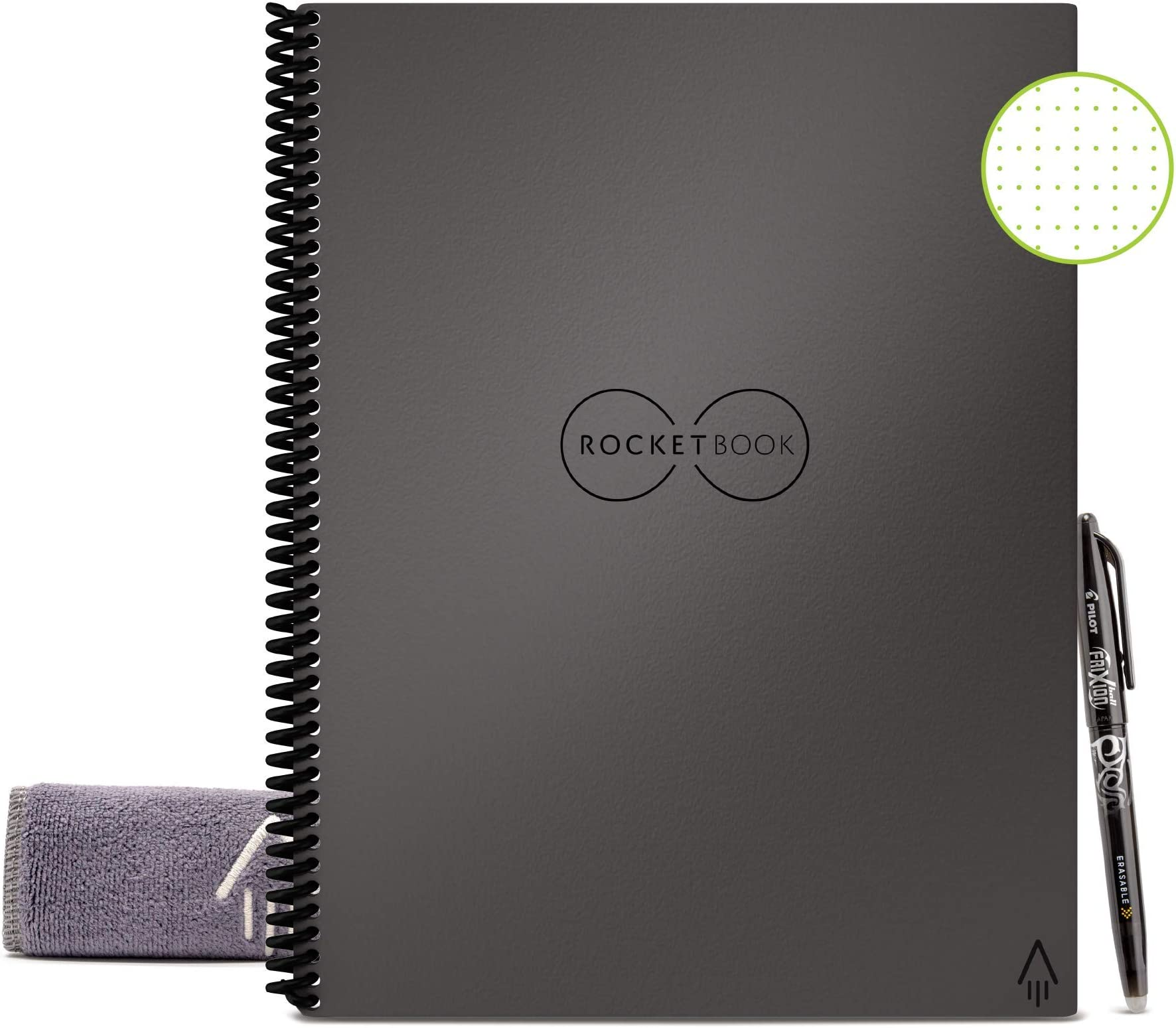 "Rocketbook Smart Reusable Notebook - Dot-Grid Eco-Friendly Notebook with 1 Pilot Frixion Pen & 1 Microfiber Cloth Included - Deep Space Gray Cover, Letter Size (8.5"" x 11"")"