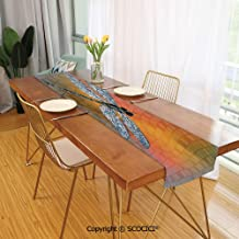 SCOCICI Creative Table Runner Dresser Scarf,100% Polyester,Table Decor Bird Like Bugs Flying on Orange Marigold Abstract Geometrical Backdrop 13x70inch
