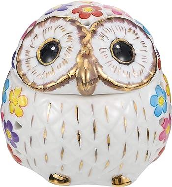 IMIKEYA Owl Cookie Jar with Lid Owl Figurine Ceramic Jewelry Box Animal Jewelry Trinket Box Wedding Table Centerpiece Candy J