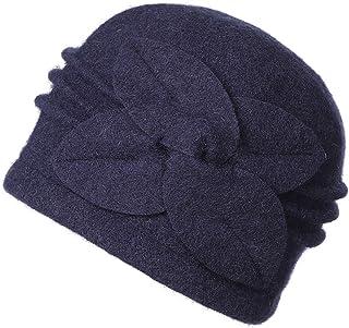 Dantiya Women's 100% Wool Flower Warm Cloche Bucket Hat Slouch Wrinkled Beanie Cap Crushable
