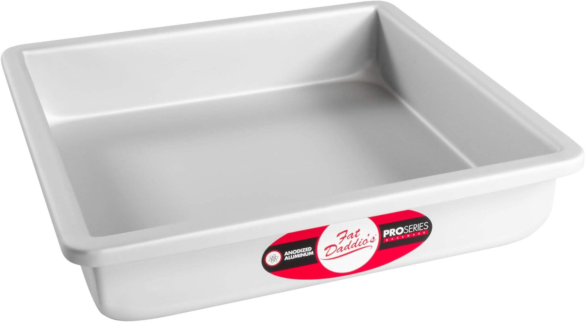 Fat Daddio's Square Cake Pan, 9 x 2 Inch, Silver