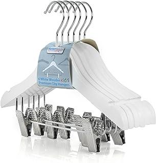 Hangerworld - Set de 12 Perchas de Madera Blanca con Pinzas para Niños - 30cm