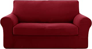 Deconovo Jacquard Stretch Solid Color Small Checked 2 Pieces Loveseat Cover Spandex Polyester Sofa Slipcover for Loveseat Wine Red