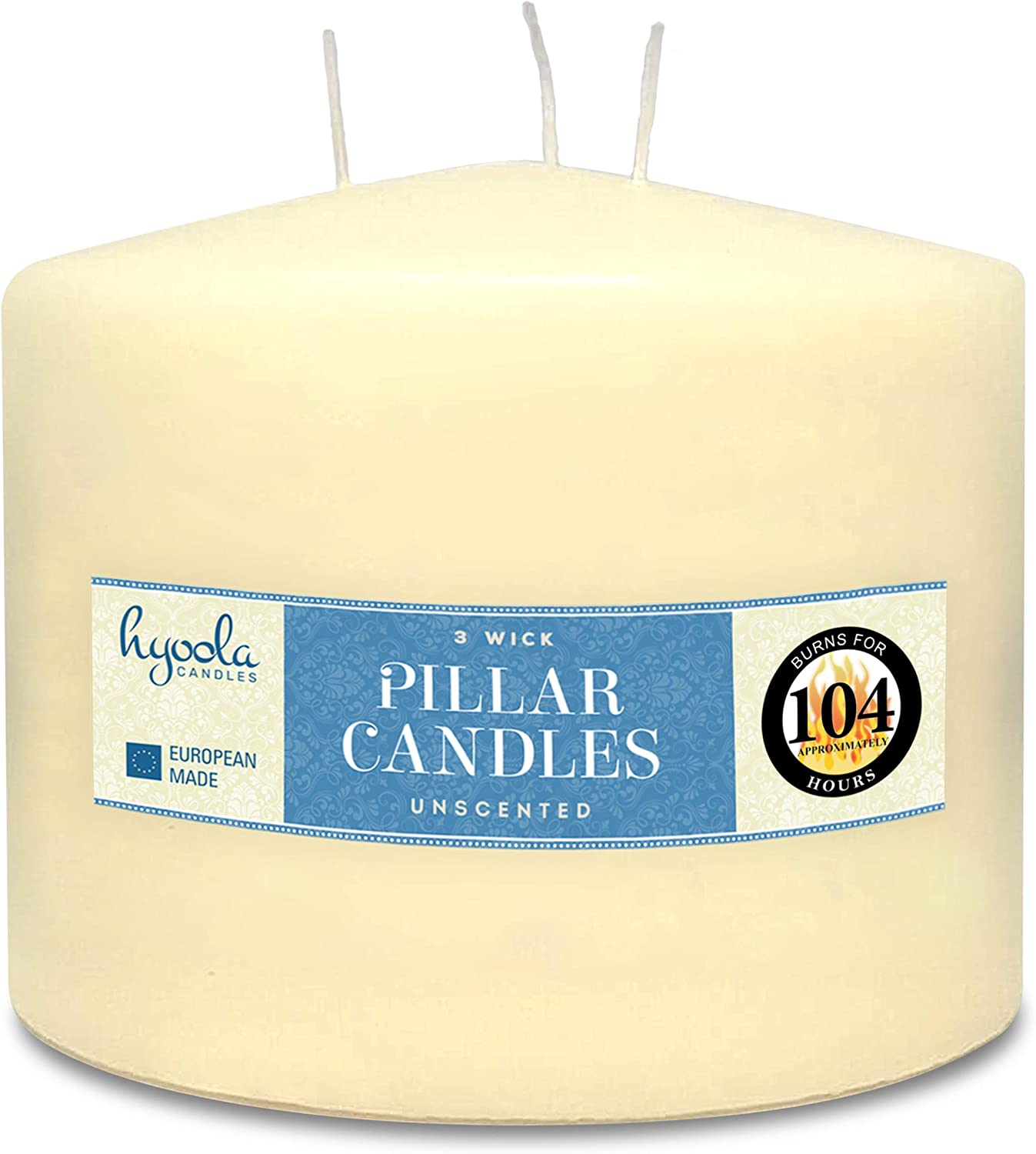 Hyoola Ivory Our shop OFFers the best service Three Wick Large Candle 6 Inch Special sale item - 4.75 Unscented x