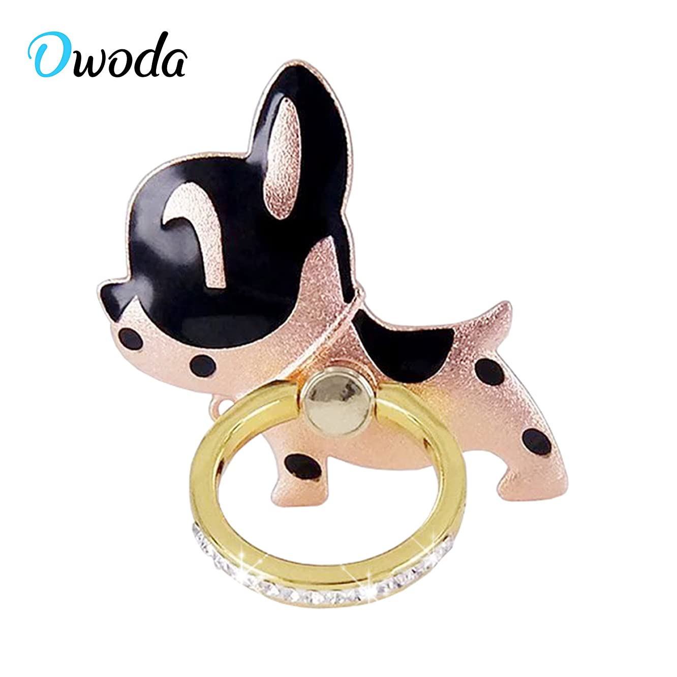 O'woda Cute Pet Phone Ring Stand 360 Degree Rotating Dog Cat Ring Grip Anti Drop Finger Holder for iPhone iPad and All Cellphone (Dog- Rose Black)