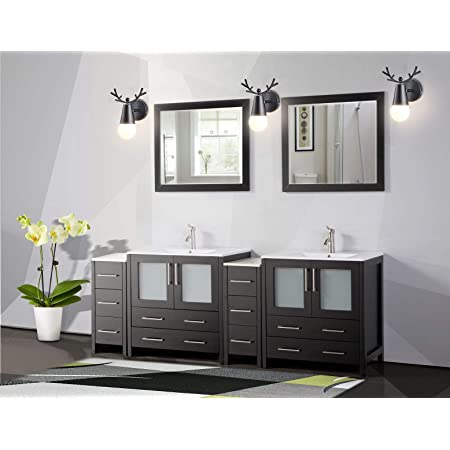 Amazon Com Vanity Art 84 Inch Double Sink Modern Bathroom Vanity Compact Set 2 Shelves 10 Dove Tailed Drawers Ceramic Top Under Mount Sink Bathroom Cabinet With Free Mirrors Va3030 84 E Home Kitchen