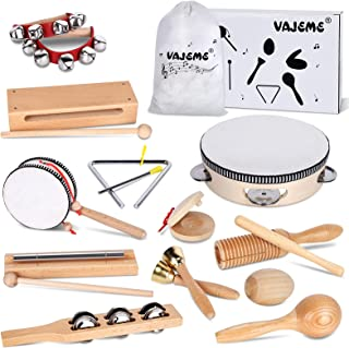 WisaKey Kids Musical Instruments Set, Wooden Music Instruments Toys for Kids and Toddlers Age 3-5 with Storage Bag Prescho...