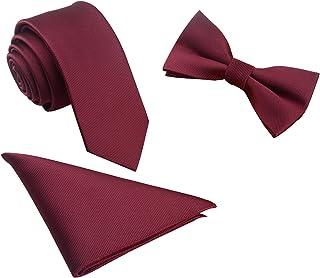 lien de poignets Hommes Ensemble de 5 cravates dans une bo/îte cadeau: Ensembles de cravates: cravate de couleur unie Tie G U Style pochette noeud papillon en satin revers