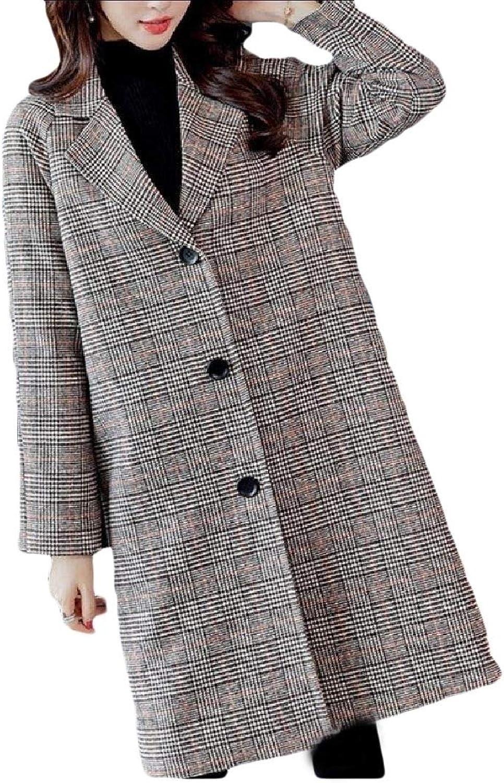 Cobama Women Plaid Outwear Notched Lapel Collar Wrap Comfort Pea Coat